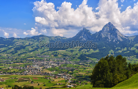 panorama of the town of schwyz