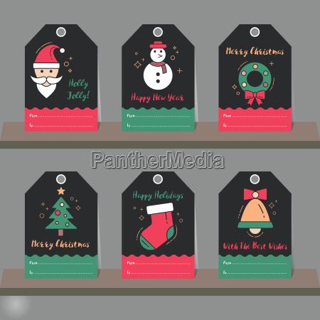 christmas gift tags set christmas elements