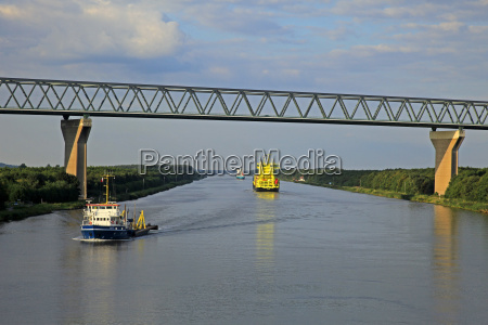 vessels on kiel canal near brunsbuttel