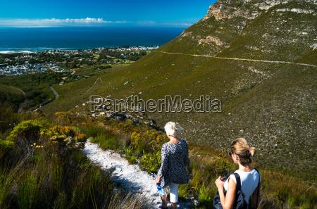 two women hikers walking down into